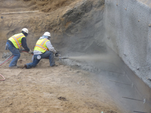Shotcrete installation in Southern California